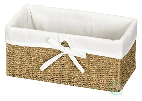 Vintiquewise(TM) Seagrass Shelf Basket Lined with White Lining (Basket With Liner compare prices)