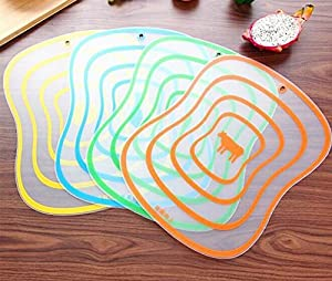 Drhob 4pc Frosted transparent plastic cutting board bendable classification Cutting Board, Colorful Kitchen Creative Chopping Board, Flexible and Non-Slip