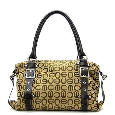 Designer Inspired CE Black Brown Belt Canvas Tan L Satchel Bag Handbag Purse