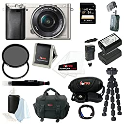 Sony Alpha a6000 24.3 MP Interchangeable Lens Camera with 16-50mm Power Zoom Lens (Silver) + Sony 64GB SD Card + Sony Case + Tiffen 40.5mm UV Protector & Ciruclar Polarizer Filter + Wasabi Power Two Replacement NP-FW 50 Batteries and Charger + Accessory K