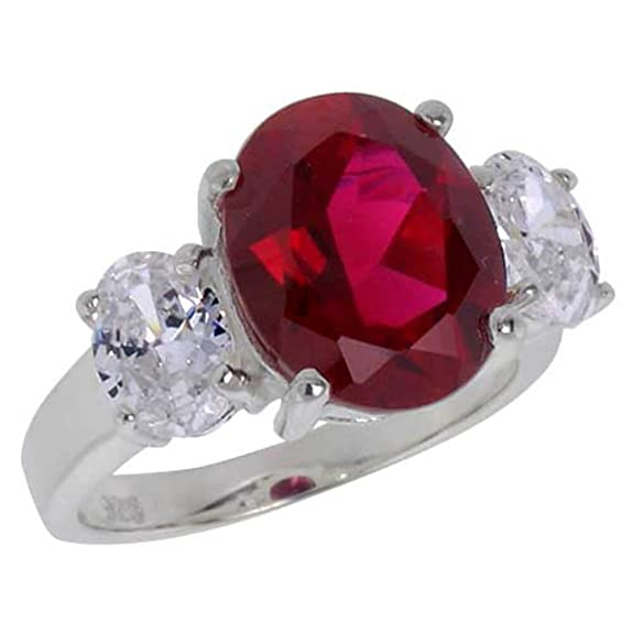 Revoni Sterling Silver 5.0 Carat Size Oval Cut Garnet Colored CZ Bridal Ring (Available in Sizes L to T)