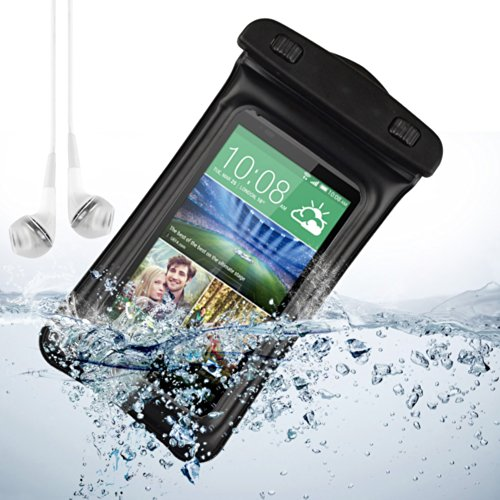 Black Waterproof Pouch Case Dry Bag For Htc One M8 / Htc One M7 / Htc Desire 816W And More Htc Smartphone + Vangoddy White Headphone With Mic