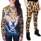 Urparcel Womens Leopard Sport Suit Tracksuit 3D Tiger Print Blouse Tops Pants
