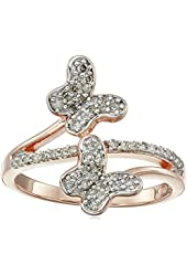 18k Rose Gold over Sterling Silver Diamond Butterfly Ring (1/3cttw, I-J Color, I2-I3 Clarity), Size 7