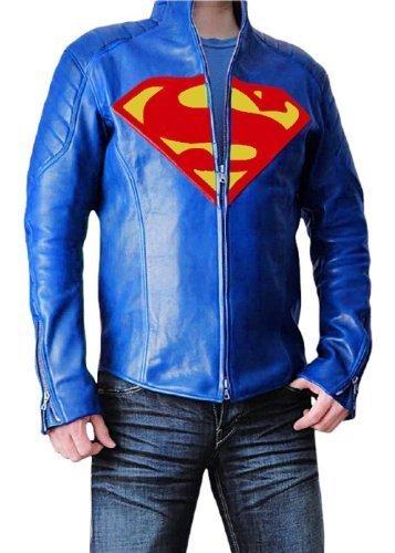 TRENDY OUTFITTERS Superman-Giacca da uomo, in pelle blu XL