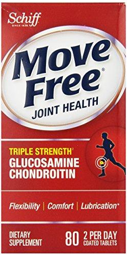 Déplacez Force gratuit Triple glucosamine chondroïtine et Supplément mixte acide hyaluronique, 80 comte