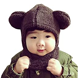 LuckyZ 2 in 1 Baby Kids Warm Winter Hats Thick Woolen Earflap Hood Hat Scarves with Ears, Fits for 8 Monthes to 4 Years Ages, Brown Bear