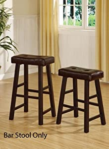 Poundex Country Series Bar Stool, 29-Inch in Dark Cherry Finish with Faux Leather, Set Of... by Poundex