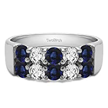 buy Silver Double Row Anniversary Wedding Band With Diamonds And Sapphire (1 Ct. Twt.)