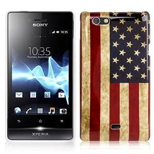 Rocina Hardcase Schutzhülle für Sony xperia Miro St23i Retro Flagge Amerika