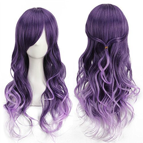[Harajuku anime Cosplay Purple Gradient Long Curly Hair Wig/Party wigs] (Sexy Glamour Wig In Auburn)