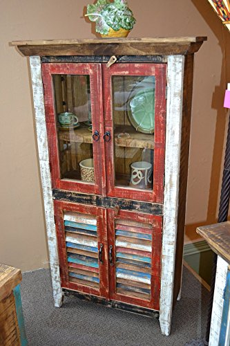 Crafters and Weavers Rustic Distressed Reclaimed Wood Curio, Glass Cabinet /Bookcase /Hutch 4