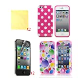 Pink (TRAIT) 6in1 Bubble Plastic + Silicon Case Front And Back 3in1 Protector Skin for iphone 4 4G 4S Cases And Covers+Polka Dot Case+ 2* Screen Protector+2* Cleaning Cloth