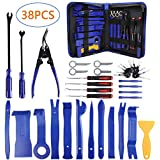 AUTDER 38 Pcs Car Trim Removal Tool Kits Upholstery Tools Pry Kit Door Panel Tool Radio Repair Modification Auto Clip Pliers Fastener Remover Pry Bar Set with Storage Bag (Color: Tools 38 Pcs)