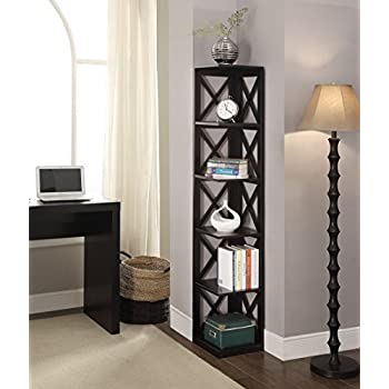 Convenience Concepts Oxford 5-Tier Corner Bookcase, Black