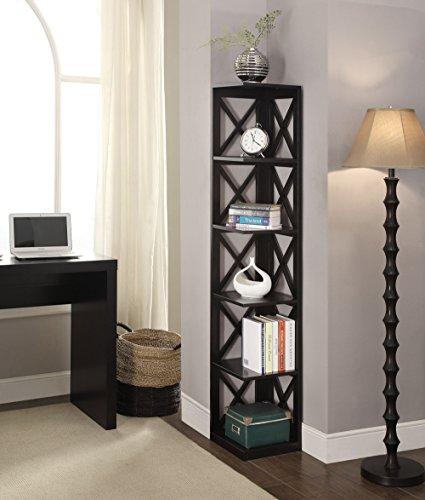 Convenience Concepts Oxford 5-Tier Corner Bookcase, Black