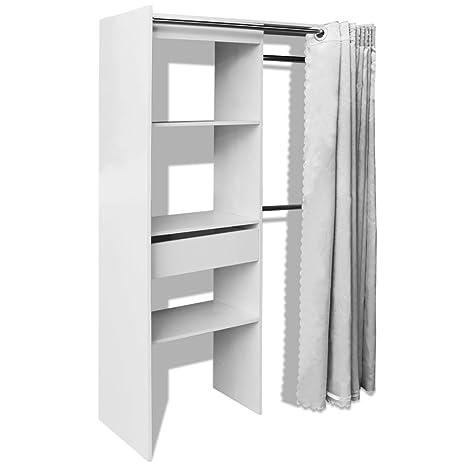 vidaXL, armario ropero con cortina ajustable, mueble de anchura ajustable (roble/blanco).