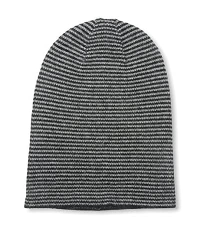 Portolano Men's Wool Blend Striped Long Beanie Hat, Black/Light Heather Grey