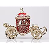 Jewelry Display Trinket Crystal Carriage Jewelry Boxes Trinket Box Gift Box (Red)