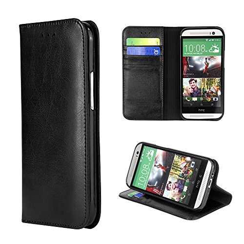 Ivapo Luxury Classic Retro Genuine Leather Cover Wallet Design & Stand Function Soft Case For Htc One M8 (Mm451) (Black)