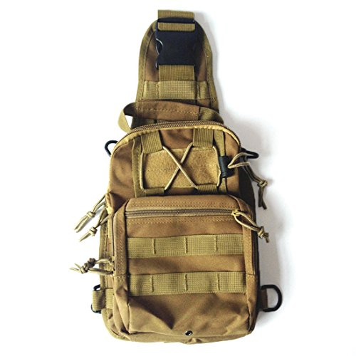 Yihya Militare multifunzionale Nylon bag Tactical Marsupio Tattico Messenger Zaino Bag Zaino di Assalto per Sport Esterni Avventura Climbing & Riding Borsa da Viaggio - Spalla-kaki