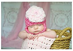 Jamie Rae Hats- Candy pink pretty pixie with pale pink lace rosette