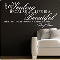 Marilyn Monroe White Keep Smiling - WALL STICKER DECAL QUOTE ART MURAL Large Nice from Value Decals