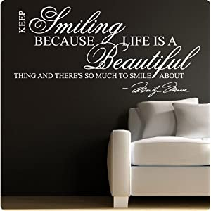 Amazon.com: Marilyn Monroe White Keep Smiling - WALL STICKER DECAL ...
