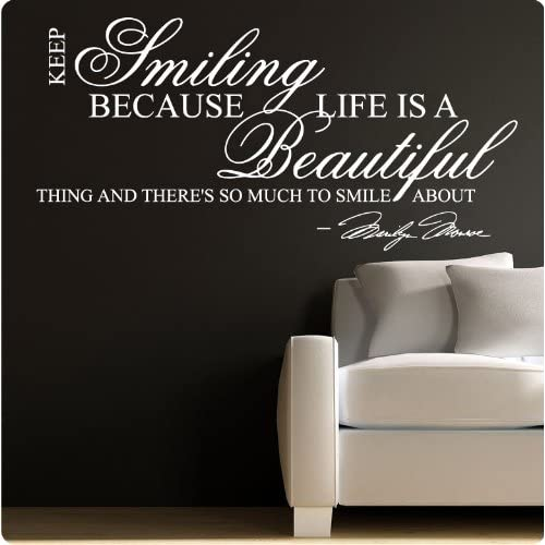 Marilyn Monroe White Keep Smiling   WALL STICKER DECAL QUOTE ART MURAL Large Nice