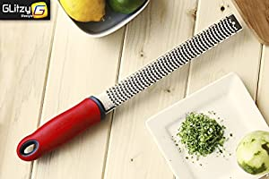Lemon Zester, Cheese Grater, Premium Sharp Stainless Steel Blade, Red Non-Slip Grip Handle With Safety Cover, For Nutmeg, Ginger and Juicer