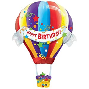Happy Birthday Hot Air Balloon Jumbo Foil Balloon (Multi-colored) Party Accessory from Qualatex