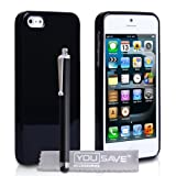 Cover iPhone 5 / 5S Silicone Lucido Custodia Nero Con Stilo Pennadi Yousave Accessories�