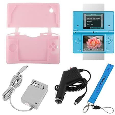 GTMax Pink Silicone Soft Rubber Case + Clear LCD Screen Protector + Black Rapid Car Charger + Flip Home Wall AC Charger + Wrist Strap Lanyard for Nintendo DSI / NDSI