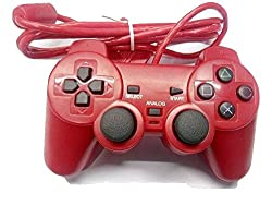 New World High Quality Tencil Wired Controller/Joystick For Sony PS2 (Red Color)
