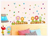 Topro Nursery Colorful Sunflowers Parterre Garden Park Wall Art Stickers De...