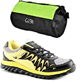 Elligator Anchor Black & Yellow Sports Shoes With Elligator Stylish Gym Bag Combo (Set Of 2)