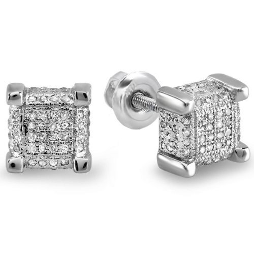 6mm Jewels By Lux 925 Sterling Silver Mens Yellow-tone Cubic Zirconia CZ Square Dome Stud Earrings