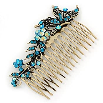 Vintage Inspired Teal Blue Swarovski Crystal 'Flower & Butterfly' Side Hair Comb In Antique Gold Tone - 115mm