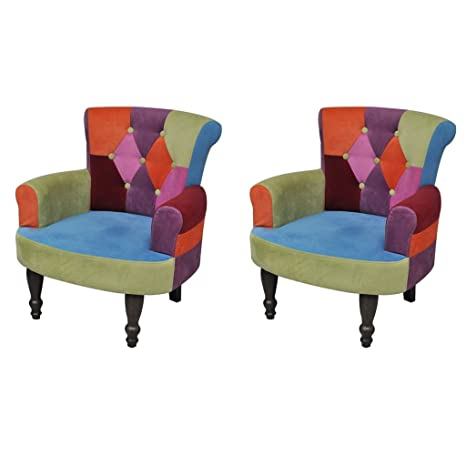 vidaXL Stuhlsessel Sessel Stuhl Retrostil Patchwork bunt Armlehnenstuhl 2 Stuck Sofa