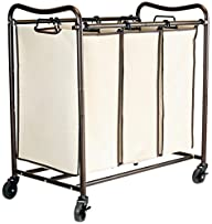 DecoBros Heavy-Duty 3-Bag Laundry Sorter Cart (Bronze)
