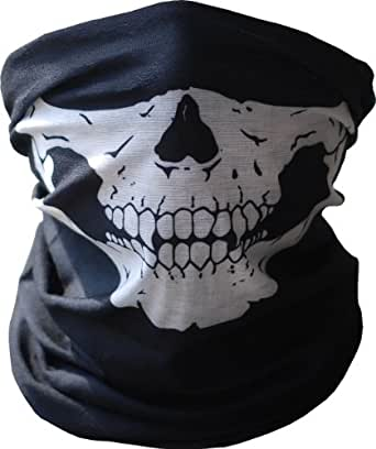 Aovei Black Seamless Skull Face Tube Mask