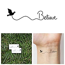 Tattify Believe Bird Temporary Tattoo - Fly (Set of 2)