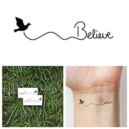 Tattify Believe Bird Temporary Tattoo - Fly (Set of 2) - 1