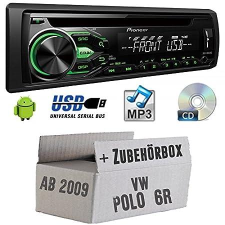 VW Polo 6R - Pioneer DEH1800UBG - CD/MP3/USB Autoradio - Einbauset