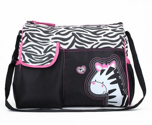Trendy Boutique Black & White Zebra Striped Pink Zebra Diaper Bag - 1