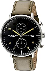 Stuhrling Original Men's 'Monaco' Quartz Chronograph Date Stainless Steel and Leather Dress Watch 803.02 Green