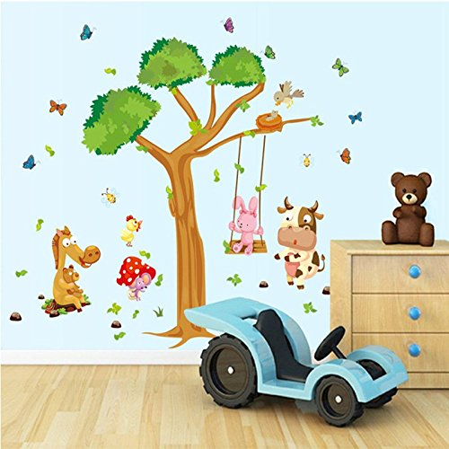 Wall Decals - Nursery Wall Stickers / Decorations for Baby Girls, Boys - Create Rooms Art Decor for Kids - Removable Vinyl Peel and Stick - Forest Tree, Butterflies and Farm Animals (Wall Decals Brown Stripes compare prices)