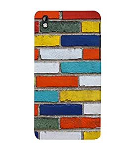 Multicolor Bricks 3D Hard Polycarbonate Designer Back Case Cover for HTC Desire 816::HTC Desire 816 G::HTC Desire 816D::HTC Desire 816G (Octa Core)