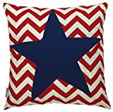 JinStyles Cotton Canvas Chevron Striped Accent Decorative Throw Star Pillow Cover / Cushion Sham (Red & White, Square, for 18 x 18 Inserts)