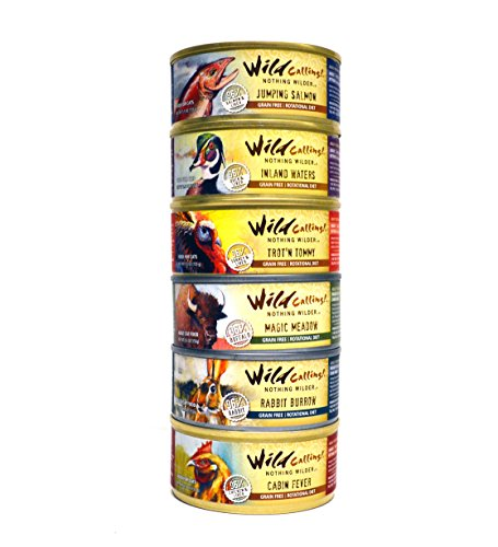 Wild Calling! Grain Free Cat Food Variety Pack - 6 Flavors (Chicken, Salmon, Rabbit, Turkey, Duck, and Buffalo) 5.5 Ounces Each (12 Total Cans)